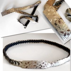 Accessories - SILVER SCALES ETCHED STRETCH BELT SZ S